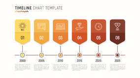 Timeline chart infographic template for data visualization. 6 st Stock Image