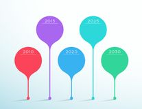 Timeline Colorful Vector 3d Circle Infographic Template. 5, colorful round vector shapes standing as a 3d timeline text boxes 2010 to 2030 with blank space for vector illustration