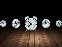 Timeline concept: alarm clock icon in grunge dark Royalty Free Stock Photos