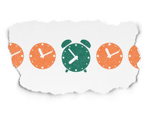 Timeline concept: alarm clock icon on Torn Paper Stock Photography