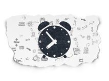 Timeline concept: Alarm Clock on Torn Paper. Timeline concept: Painted black Alarm Clock icon on Torn Paper background with Scheme Of Hand Drawing Time Icons, 3d Stock Photo