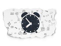 Timeline concept: Alarm Clock on Torn Paper Stock Photo