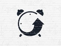Timeline concept: Alarm Clock on wall background. Timeline concept: Painted black Alarm Clock icon on White Brick wall background with Scheme Of Hexadecimal Code Royalty Free Stock Photography