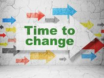 Timeline concept: arrow with Time to Change on grunge wall background Royalty Free Stock Photo