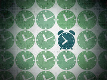 Timeline concept: blue alarm clock icon on digital Royalty Free Stock Image