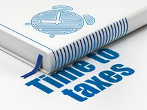 Timeline concept: book Alarm Clock, Time To Taxes on white background. Timeline concept: closed book with Blue Alarm Clock icon and text Time To Taxes on floor stock illustration