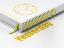 Timeline concept: book Clock, Yesterday on white background. Timeline concept: closed book with Gold Clock icon and text Yesterday on floor, white background, 3D royalty free illustration