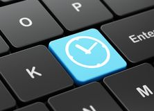 Timeline concept: Clock on computer keyboard background Royalty Free Stock Images
