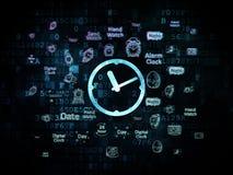 Timeline concept: Clock on Digital background Stock Photo