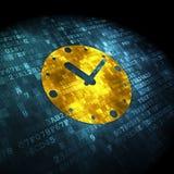 Timeline concept: Clock on digital background Stock Image