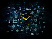 Timeline concept: Clock on Digital background Royalty Free Stock Photos