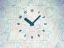 Timeline concept: Clock on Digital Paper Stock Photography