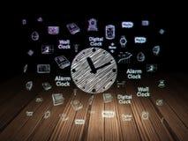Timeline concept: Clock in grunge dark room Stock Image