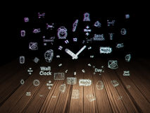 Timeline concept: Clock in grunge dark room Royalty Free Stock Photo