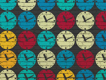 Timeline concept: Clock icons on wall background. Timeline concept: Painted multicolor Clock icons on Black Brick wall background, 3d render stock image