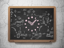 Timeline concept: Clock on School Board background Royalty Free Stock Photos