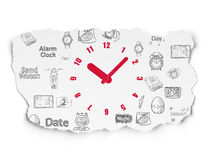 Timeline concept: Clock on Torn Paper background Stock Image