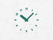 Timeline concept: Clock on wall background Stock Photo