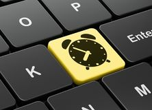 Timeline concept: Alarm Clock on computer keyboard background. Timeline concept: computer keyboard with Alarm Clock icon on enter button background, 3D rendering Royalty Free Stock Photography