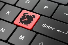 Timeline concept: Alarm Clock on computer keyboard background. Timeline concept: computer keyboard with Alarm Clock icon on enter button background, 3D rendering Royalty Free Stock Images