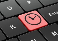 Timeline concept: Clock on computer keyboard background. Timeline concept: computer keyboard with Clock icon on enter button background, 3D rendering Royalty Free Stock Images