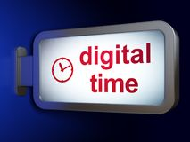 Timeline concept: Digital Time and Clock on billboard background. Timeline concept: Digital Time and Clock on advertising billboard background, 3D rendering Stock Photos