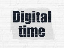 Timeline concept: Digital Time on wall background. Timeline concept: Painted black text Digital Time on White Brick wall background with  Hexadecimal Code Stock Images