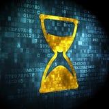 Timeline concept: Hourglass on digital background. Timeline concept: pixelated Hourglass icon on digital background, 3d render Royalty Free Stock Image