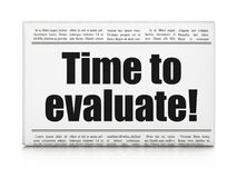 Timeline concept: newspaper headline Time to Evaluate!. On White background, 3D rendering Royalty Free Stock Photography