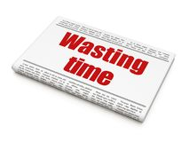 Timeline concept: newspaper headline Wasting Time. On White background, 3D rendering Stock Photos