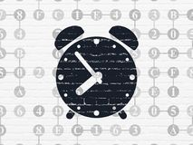 Timeline concept: Alarm Clock on wall background Royalty Free Stock Photo