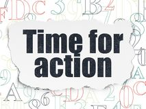 Timeline concept: Time for Action on Torn Paper background Stock Image