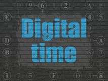Timeline concept: Digital Time on wall background Royalty Free Stock Image