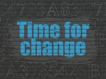 Timeline concept: Time for Change on wall background. Timeline concept: Painted blue text Time for Change on Black Brick wall background with  Hexadecimal Code Royalty Free Stock Images