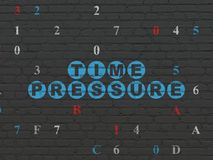 Timeline concept: Time Pressure on wall background. Timeline concept: Painted blue text Time Pressure on Black Brick wall background with Hexadecimal Code Royalty Free Stock Images