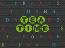 Timeline concept: Tea Time on wall background. Timeline concept: Painted green text Tea Time on Black Brick wall background with Hexadecimal Code Royalty Free Stock Photos