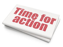 Timeline concept: Time for Action on Blank Newspaper background Royalty Free Stock Image