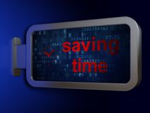 Timeline concept: Saving Time and Clock on billboard background. Timeline concept: Saving Time and Clock on advertising billboard background, 3D rendering Royalty Free Stock Photography