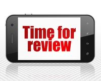 Timeline concept: Smartphone with Time for Review on display Stock Images