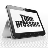Timeline concept: Tablet Computer with Time Pressure on display. Timeline concept: Tablet Computer with black text Time Pressure on display, 3D rendering Stock Photos