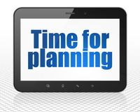 Timeline concept: Tablet Pc Computer with Time for Planning on display Royalty Free Stock Photo