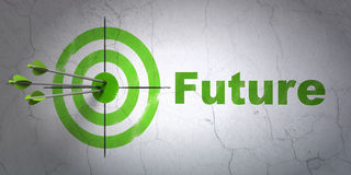 Timeline concept: target and Future on wall stock illustration