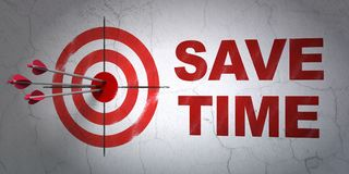 Timeline concept: target and Save Time on wall background. Success timeline concept: arrows hitting the center of target, Red Save Time on wall background, 3D Stock Image