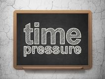 Timeline concept: Time Pressure on chalkboard background. Timeline concept: text Time Pressure on Black chalkboard on grunge wall background, 3D rendering Royalty Free Stock Image