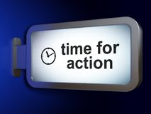Timeline concept: Time for Action and Clock on billboard background. Timeline concept: Time for Action and Clock on advertising billboard background, 3D Royalty Free Stock Image