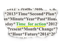 Timeline concept: Time for Action on Paper background Stock Photography
