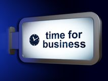 Timeline concept: Time for Business and Clock on billboard background Stock Photos
