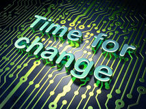 Timeline concept: Time for Change on circuit board Stock Photos