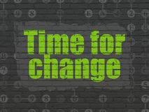 Timeline concept: Time for Change on wall background. Timeline concept: Painted green text Time for Change on Black Brick wall background with Scheme Of vector illustration