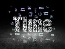 Timeline concept: Time in grunge dark room. Timeline concept: Glowing text Time, Hand Drawing Time Icons in grunge dark room with Dirty Floor, black background stock photos